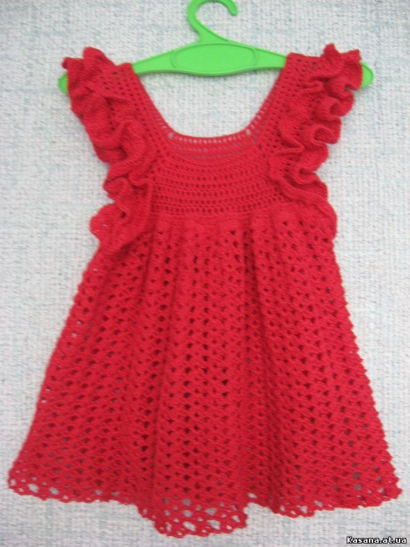 Вязание крючком для девочек 2-3 лет платья и юбки 712