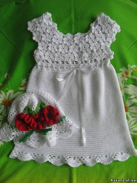 Вязание крючком цветков для платья 589